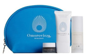 Omorovicza Cleansing Foam (30ml), Balancing Moisturiser (20ml) and Thermal Cleansing Balm (5ml) in a Blue Cosmetics Bag