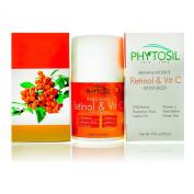 Retinol & Vitamin C Moisturiser- For Day & Night- 2.5% Retinol, 20% Vitamin C, Hyaluronic Acid, Jojoba Oil & Green Tea - Hydrate, Firm & Tighten, Build Collagen, Fade Dark Spots - Phytosil 50ml