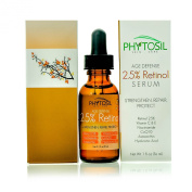 2.5% Retinol Serum - Strongest Retinol Available - With 20% Vitamin C & E, Hyaluronic Acid, Astaxanthin, CoQ10 - Diminish Wrinkles, Build Collagen, Tighten Sagging Skin, Fade Spots - Phytosil 30ml