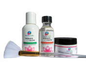 30% Salicylic Acid Skin Peel Kit + Glycolic Pre-Peel Cleanser + Antioxidant Recovery Cream + Treatment Brush.