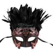 Bronze Warrior with Feathers Greek Venetian Masquerade Mask
