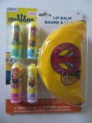Despicable Me 2 Lip Balms Plus Minions Plastic/Vinyl PEACE SIGN Zippered Case
