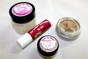 All Natural Pomegranate Jojoba Skin Care Sampler Kit, 4 items, All Natural, Hand Made. Includes 2 lip balms, hand salve and salt scrub