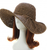 Idealgo. Bohemia Fashion Korean Floppy Summer Bow Women's Straw Sun Hat Cap Roll-up Crocheted Sun Hat for Holiday Travel Beach Swimming Beach