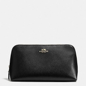 Coach Cosmetic Case Crossgrain Leather F53387 in Black