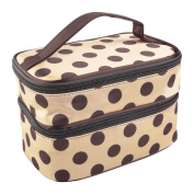 Theo & Cleo Large Double Layer Hanging Zipper Cosmetic Makeup Bag Organiser for Travel Toiletry with Mirror, Beige/Brown Polka Dot