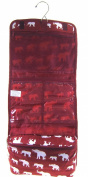 Elephant Print Hanging Cosmetic Travel Toiletry Makeup Bag Burgundy Red