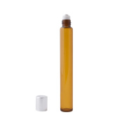 12pc Slim Roll-On (1/2 oz) 15ml Amber Glass with Stainless Steel Roller and Silver Cap