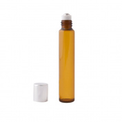 12pc Slim Roll-On (1/3 oz) 10ml Amber Glass with Stainless Steel Roller and Silver Cap