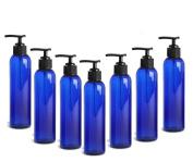 Blue Plastic (PET) Bullet Bottles with Black Lotion Pump