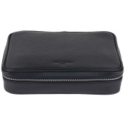 David Hampton Richmond Leather Wash Bag Slate Grey