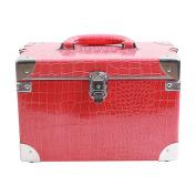 Cosmetic makeup box7 1 stage Jumbo size crocodile pattern pink