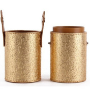 High Quality Beauty Gold Printing Brush Cup Holder Cosmetic Brushes Case Gold