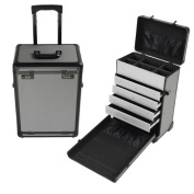 MegaBrand Pro Rolling Train Cosmetic Makeup Case Jewellery Drawers Grey