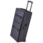 GHP Black Rolling Makeup Train Case w 2.8ler Telescoping Drawer Bar