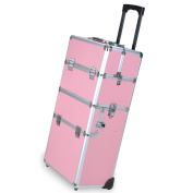 "GHP Pink 36cm Lx 9.13cm Wx 29""H Rolling Makeup Train Case w Adjustable Tray Dividers"