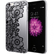iphone6s Plus, 14cm Clear Black Lace Floral Flower Plastic Hard Case Cover