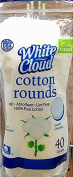 White Cloud Cotton Rounds, 40 ct