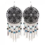 11cm Long Hollow Plate Bohemia Beads Decorated Dangle Earrings