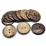 100pcs Brown 25mm Wooden Button Coconut Shell 2 Holes Clothing Sewing Buttons for Shirt Baby Sweaters