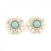 Exquisite Gold Tone Pearl and Crystal Flower Post Stud Earrings