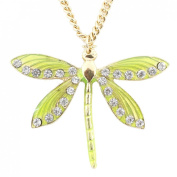 Exquisite Gold-tone Green Crystal Dragonfly Pendant Necklace