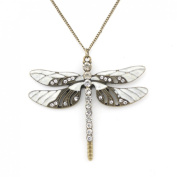Vintage Feel Gold Tone White Enamel and Crystal Dragonfly Pendant Necklace