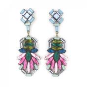 Gold Tone Colourful Beads Post Backings Dangle Earrings