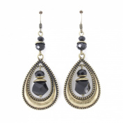 Vintage Feel Gold Tone Black Beads Dangle Earrings