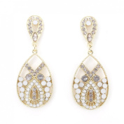 Exquisite Gold Tone White Beads and Crystal Post Backings Dangle Drop Earrings