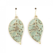 Cute Small Hollow Green Enamel Leaf Dangle Drop Earrings
