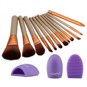 Huewind 12pcs Synthetic Kabuki Makeup Brush Set Cosmetics Foundation Blending Blush Eyeliner Face Powder Brush Makeup Brush Kit
