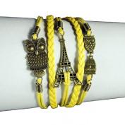 Lowpricenice(TM) Women Girls Eiffel Tower Owl Friendship Leather Charm Weave Bracelet Yellow