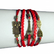 Lowpricenice(TM) Women Girls Eiffel Tower Owl Friendship Leather Charm Weave Bracelet Red