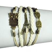 Lowpricenice(TM) Women Girls Eiffel Tower Owl Friendship Leather Charm Weave Bracelet