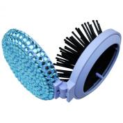 TASIRO 2-in-1 Bling Bling Folding Makeup Mirror with Massaging Hair Brush