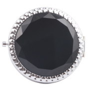Round-Shaped Compact Makeup Mirror Glass Surface Black Colour