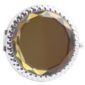 Round-Shaped Compact Makeup Mirror Glass Surface Light Yellow Colour
