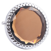 Round-Shaped Compact Makeup Mirror Glass Surface Light Ochre Colour