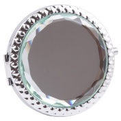 Round-Shaped Compact Makeup Mirror Glass Surface Aqua Colour