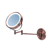 Ovente MFW70CO LED Surround Lighted Wall Mount Vanity Mirror, 1x/10 Magnification