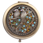 Round-Shaped Compact Makeup Mirror Bronze-Coloured Two Birds Yellow Bottom