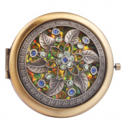 Round-Shaped Compact Makeup Mirror Bronze-Coloured Two Flower with Six Leaves Yellow Bottom