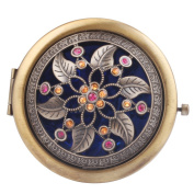 Round-Shaped Compact Makeup Mirror Bronze-Coloured Two Flower with Six Leaves Blue Bottom