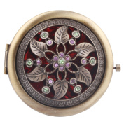 Round-Shaped Compact Makeup Mirror Bronze-Coloured Two Flower with Six Leaves Red Bottom