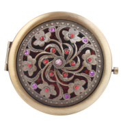 Round-Shaped Compact Makeup Mirror Bronze-Coloured Six Plum Blossoms Red Bottom