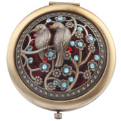 Round-Shaped Compact Makeup Mirror Bronze-Coloured Two Birds Red Bottom