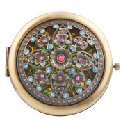 Round-Shaped Compact Makeup Mirror Bronze-Coloured Thirteen Flowers Yellow Bottom