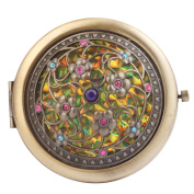 Round-Shaped Compact Makeup Mirror Bronze-Coloured Eight Little Flowers Yellow Bottom