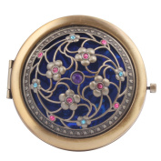 Round-Shaped Compact Makeup Mirror Bronze-Coloured Eight Little Flowers Blue Bottom
